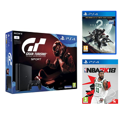 PS4 Slim 1To + Gran Turismo Sport + Destiny 2 + NBA 2K18 à 359,99 € chez Auchan