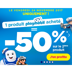 Toys R US :  1 playmobil acheté = le 2nd à -50%