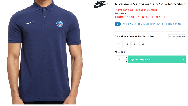 Polo PSG Nike en promotion