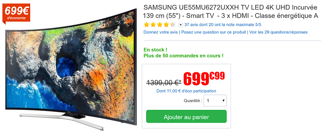 tv led samsung incurv e139 cm ultra hd 4k seulement 699. Black Bedroom Furniture Sets. Home Design Ideas