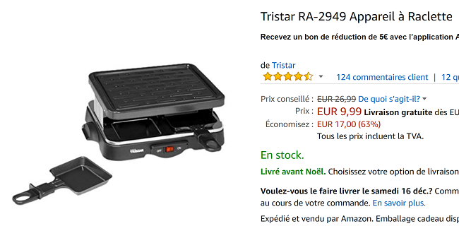 appareil raclette 4 personnes en promo 9 99 au lieu de 26 99 sur amazon. Black Bedroom Furniture Sets. Home Design Ideas