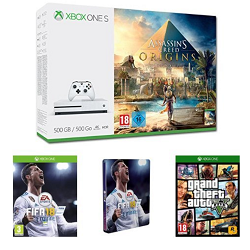 Vente Flash Amazon : Pack Xbox One S + Fifa 18 + GTA V + Assassin's creed Origins à 249 € au lieu de 393 €