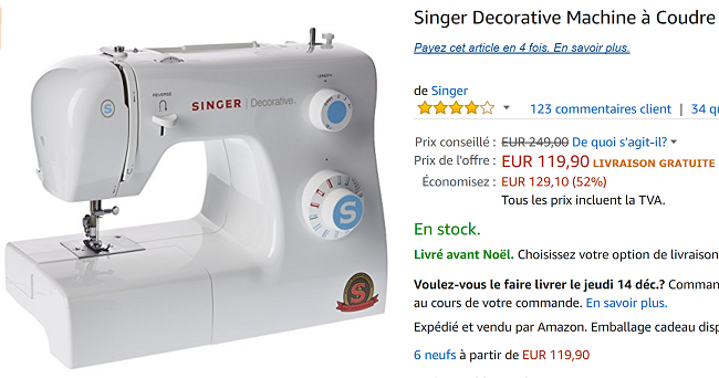 Promotion machine à coudre Singer