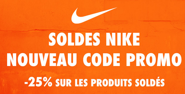 Code promo valable durant les soldes Nike