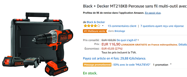 Perceuse Black et decker en promo