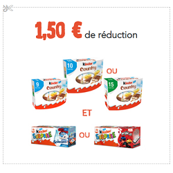 Coupon de réduction Kinder à imprimer (Bueno, Schoko-Bons, Country, Surprise, Delice, Pingui…)
