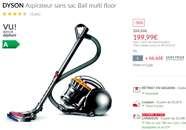 aspirateur dyson sans sac ball multi floor moiti prix chez but le bon plan. Black Bedroom Furniture Sets. Home Design Ideas