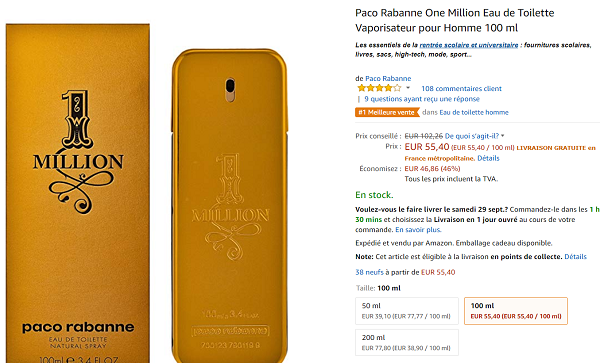 Parfum One Million 100 Ml En Promotion à 4540 Sur Amazon Via