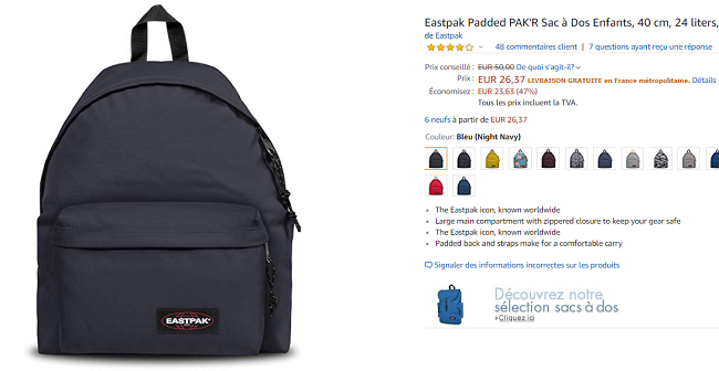 Promotion Sac à dos Eastpack