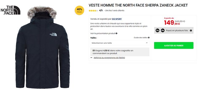 Manteau North Face en promotion