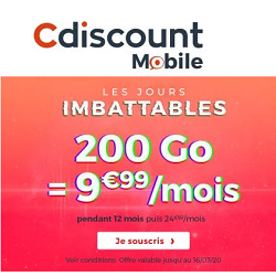 Cdiscount Mobile 200 go en promotion
